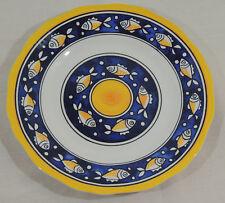 "FISH by La Cadeaux 107F Melamine Blue Yellow White Dinner Plate 11"""