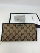 NWT GUCCI GG Canvas Long Leather Zip-around Zippy Wallet Brown Leather Trim$1090