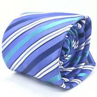 NWT Yves Saint Laurent Luxury Mens Blue Teal & White Striped Silk Tie Necktie