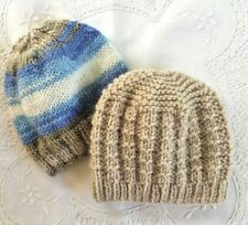 * 2 New Born Plus * Baby Beanies * (Warm) * Blues/Beige * Aust Hand Knitted *