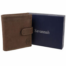 New Mens North South Hunter Leather Wallet with Tab Savannah - Gift Boxed