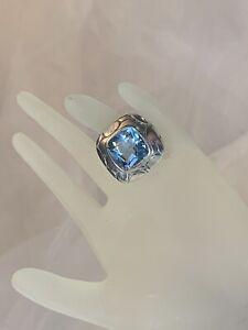John Hardy Batu Kali Ice Blue Topaz Sterling Silver Ring Size 7
