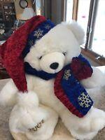 "Snowflake Teddy Bear Christmas Boy Plush KMart 2001 Stuffed W/ Hat & Scarf 20"""