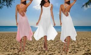 *NEW* Women's Summer Beach Midi Dress Strappy Backless Sun Dresses