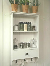 Shabby Chic Wall Unit Shelf Storage Cupboard Cabinet Bathroom Kitchen Hooks NEW
