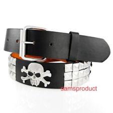 Pyramid Stud Snap On leather belt L 36-40 Black Skull