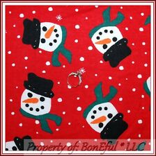 BonEful Fabric FQ Flannel Cotton Quilt L Red Snowman Face Head White Frosty Xmas