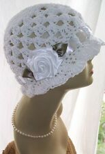 White Wedding Cotton Cloche 1920s Flapper Sun Hat Rose