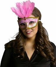 Pink & Gold Venetian Mask Mardi Gras Feather Costume Fancy Dress Exotic Adult