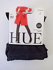 HUE WOMENS OPAQUE CONTROL TOP TIGHTS 1 PAIR BLACK PLUS SIZE 4 MADE IN USA
