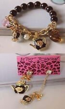 NEW Betsey Johnson Fashion black teapot bracelet earrings!