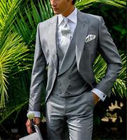 grigio 3 pezzo abito sposo uomo doppio petto gilet elegante vestito cerimonia 01