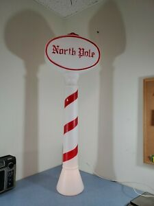 Vintage Blow Mold Christmas UNION NORTH POLE SIGN Yard Decor Lighted 46 in