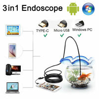 3 in 1 USB Type C Endoscope 5.mm Inspection HD Camera For Android PC Borescope