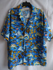 Vintage Hawaiian Camp Shirt Tropical Fish Sea Life Turtle Stingray Ocean Marine