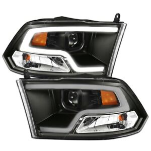 ANZO Plank Style Projector Headlights Black w/ Halo for 09-18 Dodge Ram 1500