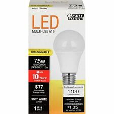 Feit Electric A1100/827/10KLED Non-Dimmable, 75W, Bulb, 120V, 1100 Lumens, 4Pc