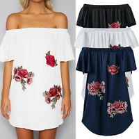 Womens summer Casual Floral print off the shoulder Short Sleeve party mini Dress