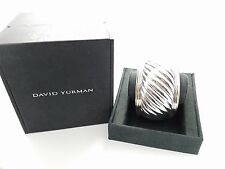 David Yurman Sterling Silver & 18k Gold Sculpted Cable 41mm Wide Cuff Bracelet