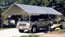Steel Frame Carport Canopy Tent Silver Top 10' x 20' Car Cover Shelter