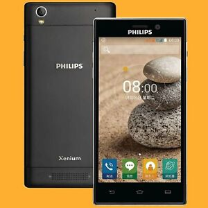 "Philips V787 Black 13MP FM 5"" 36 Days Dual SIM Standby 3G 4G Android Smartphone"