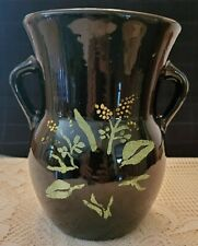 """BLACK CERAMIC VASE WITH HAND PAINTED FLOWERS 8"""" TALL"""