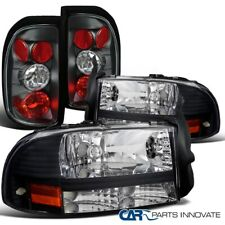 For 97-04 Dodge Dakota Black Crystal Headlights+Altezza Tail Lamps Lights
