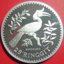 1976 MALAYSIA 25 RINGGIT SILVER PROOF RHINOCEROS HORNBILL BIRD CONSERVATION RARE