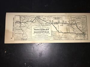 Vintage Automobile Club Southern Ca 1930's Paso Robles to Bakersfield Strip Map