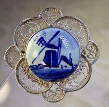"""Vintage Filigree work 1 1/4"""" Porcelain Delft Sterling Silver 0.925 Brooch Pin"""