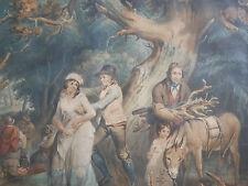 Lithographie  ancienne couleur les gitans  the gypsys Angleterre  début XIXe