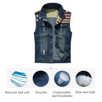 Men's Summer Cowboy Sleeveless Denim Vest Jean Jacket Waistcoat Biker Tanks UK