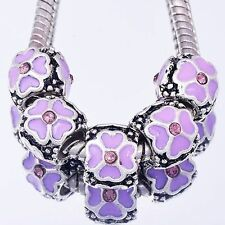 5PCS Silver Purple Enamel CZ Charms Beads European Fit DIY Chain Link Bracelet