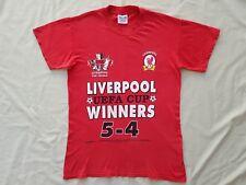 Vintage Liverpool FC 2001 League FA & EUFA Cup Treble Winners T Shirt Tee Size S