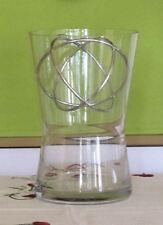 Elegante Glas-Vase mit Edelstahl-Kugel-Einsatz, Höhe 22 cm