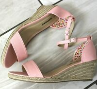 WOMENS PINK ANKLE STRAP PLATFORM SANDALS SUMMER WEDGES BEACH SHOES SIZES 3-8