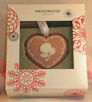New Wedgwood Pink White Jasperware Breast Cancer Heart Christmas Ornament