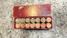 LOT OF 14 WOODEN CYLINDER BOYE NEEDLES TUBE CASES IN BOX 30 80 40 100 LOOK!