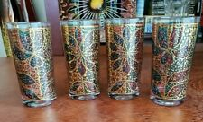 4 Georges Briard poinsettia flower Gold red green hiball glasses Signed!