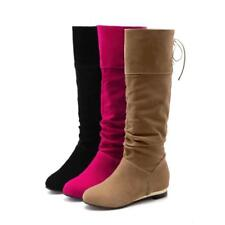 Women's faux suede Low Heel knee high Boots Lace Up Casual Winter Riding Boots