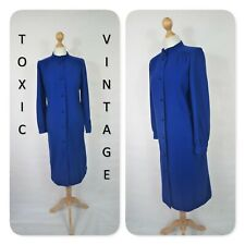 VINTAGE 60s 70s HIGH NECK ROYAL BLUE SHIFT DRESS UK L. SGT PEPPER MOD RETRO CHIC