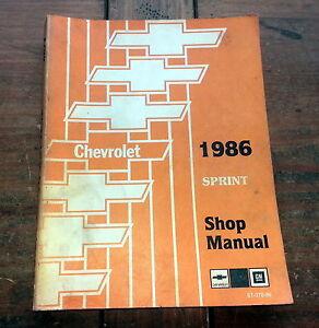 1986 Sprint Chevy Chevrolet ST37086 GM Shop Service Manual