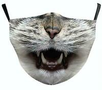 Face Mask Mouth Protection Washable- Animal Designs -Cat New Unisex 3D Printed