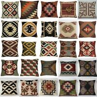 Vintage Jute Cushion Covers Throw Indian Handmade Kilim Rug Decorative Mix Cover