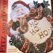 New Fitz and Floyd Santa Wreath Canapé Plate Wall Art Christmas Fitz And Floyd