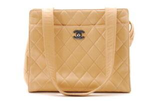 【Rank B】Auth CHANEL Matelasse Tote leather Bag Beige Shoulder Bag Japan A286