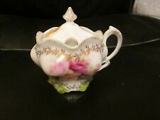 FANCY RS PRUSSIA MUSTARD POT GOLD TRIM MIXED ROSES MARKED BLOWN OUT SIDES