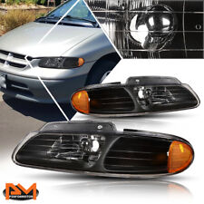 For 96-00 Chrysler Town&Country/Voyager Headlight/Lamp Black Housing Amber Side