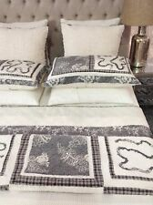 French Country Vintage Inspired Patchwork Bed Quilt Coverlet FORSTER THROW New