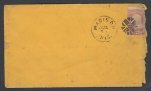 US, Sc 65 FANCY Geometric cancel of Madison Wis on cover to PA, w/ PF cert